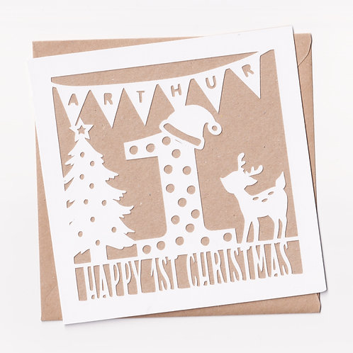 Personalised Papercut Flag First Christmas Card