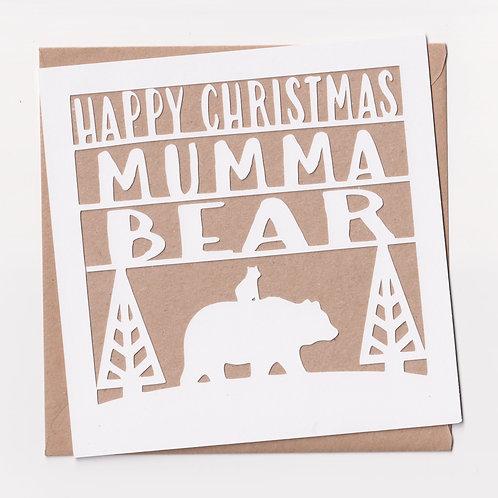Papercut Mumma Bear Christmas Card