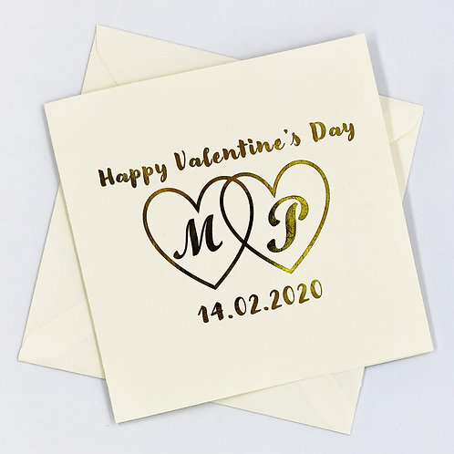 "Personalised "" Initial Valentine's Heart "" Gold Foil Card"