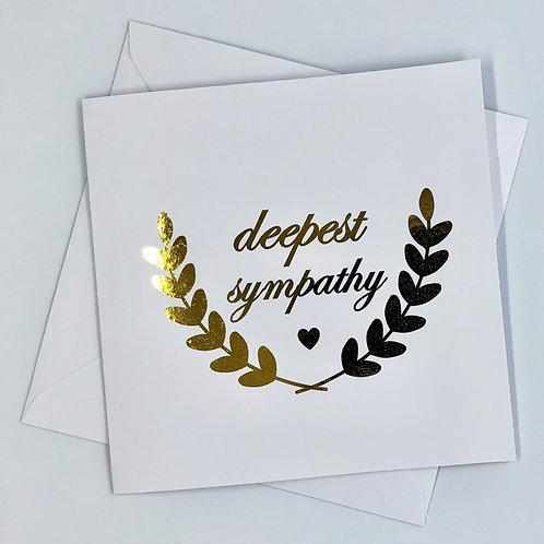 """Gold Foil Sympathy Card """"Deepest Sympathy"""""""