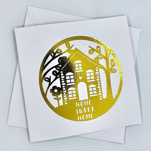 """Gold Foil New Home Card """"Home Scene"""""""
