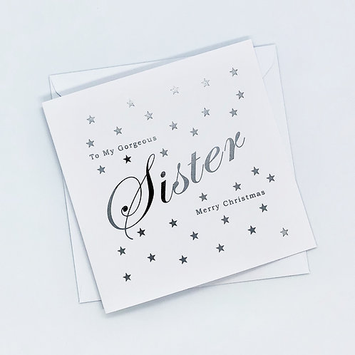 Silver Foil Christmas Sister Star Card