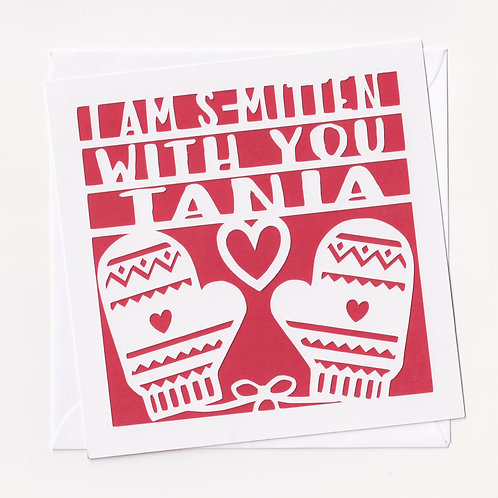 "Personalised Papercut ""Smitten"" Christmas Card"