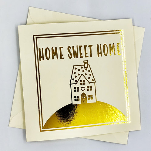 """Gold Foil New Home Card """"Home On A Hill"""""""