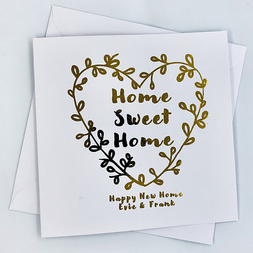 "Personalised Gold Foil New Home Card ""Home Heart"""