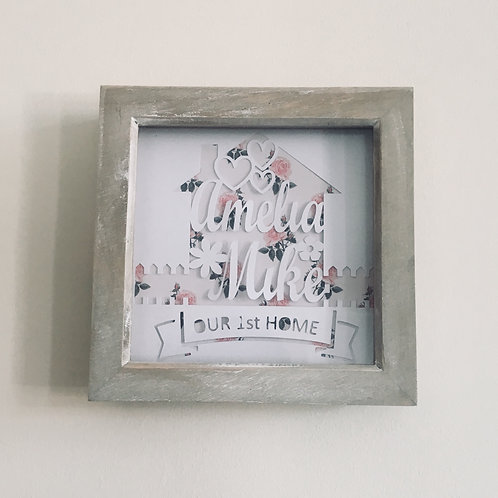 Framed Personalised 1st Home Papercut