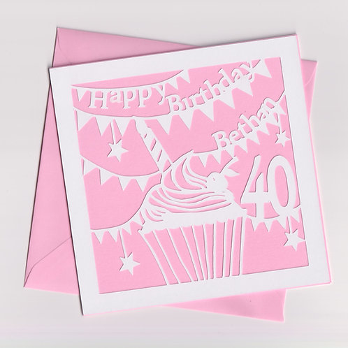 Personalised Papercut Cupcake Birthday Card