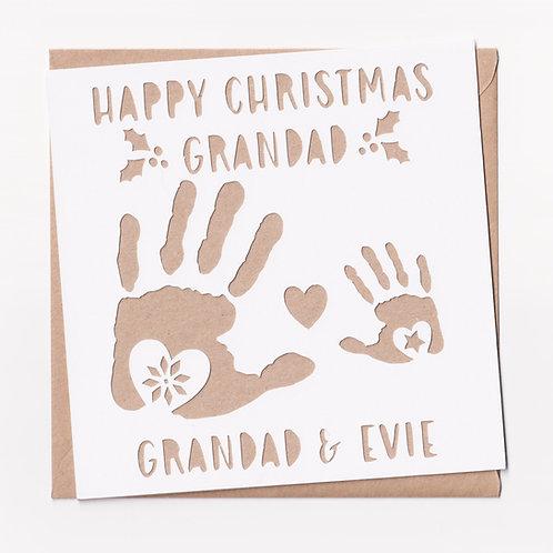 Personalised Papercut Grandad Handprint Christmas Card