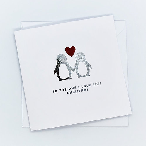 Red And Silver Foil Christmas Couple Pengiun Card