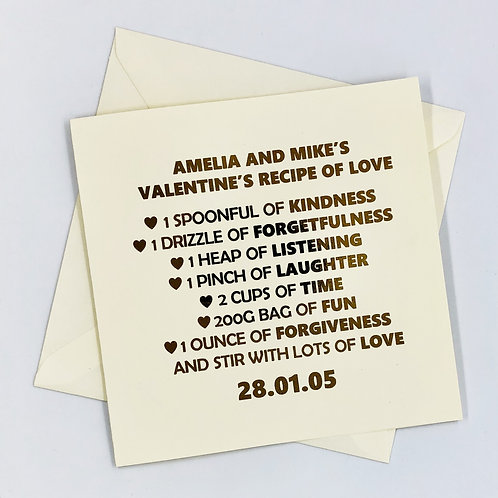 """Personalised """" Valentine's Recipe of Love """" Gold Foil Card"""