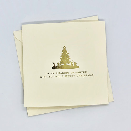 Gold Foil Daughter Christmas Tree Card