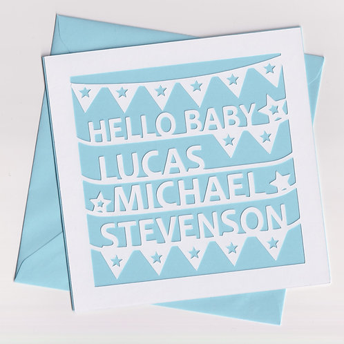 Personalised Papercut Baby Bunting Card