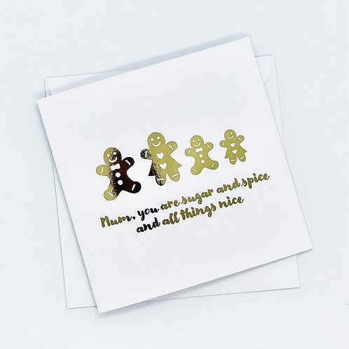 Gold Foil Christmas Mum Gingerbread Card