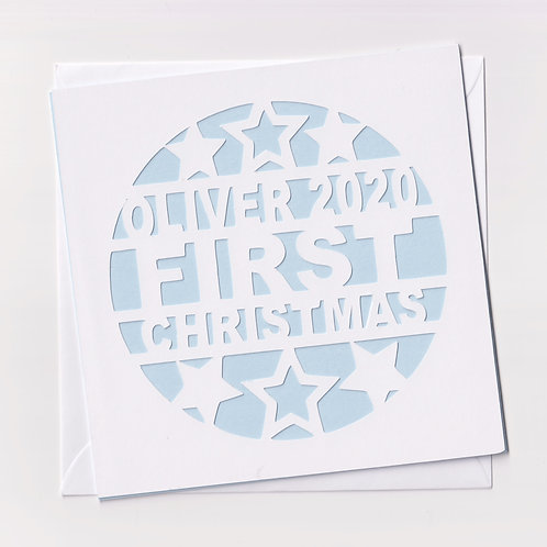 """Personalised Papercut """"First Christmas"""" Christmas Card"""