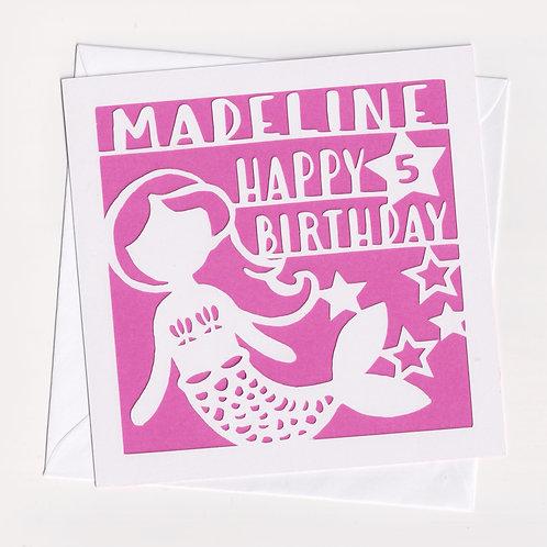 Personalised Papercut Mermaid Card