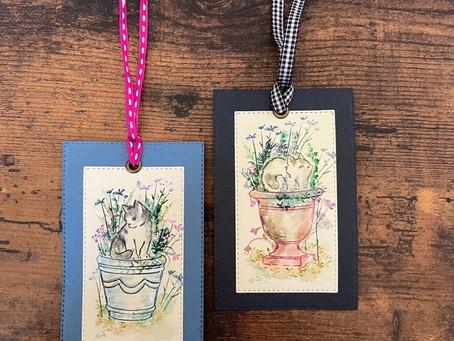 猫と植木鉢 Art impressions の ラバースタンプを使って