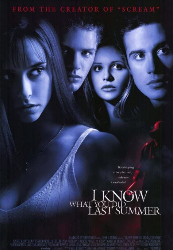 I Know What You Did Last Summer movie poster featuring the cast with a dark filter on and the title of the film at the bottom.