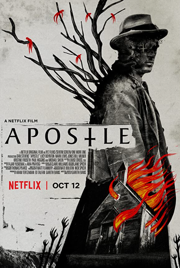 Apostle Movie Poster featuring a cartoon man wearing a hat with branches coming out of his back and a house on fire in the foreground.
