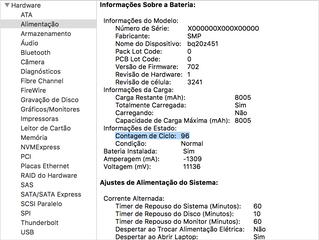 Como identificar a contagem de ciclos da bateria em notebooks Mac