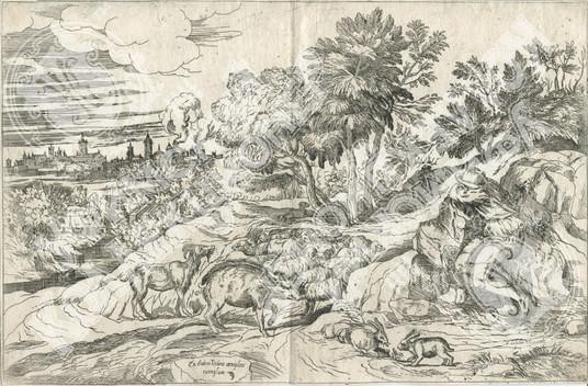 Пейзаж со спящим пастухом. (Landscape with shepherd resting on rock)