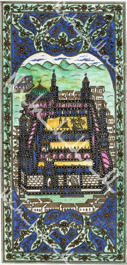 """Лист с рукописным изображением Мекки и Медины из книги """"Далаил Хират"""". XIX век. Лист 2."""