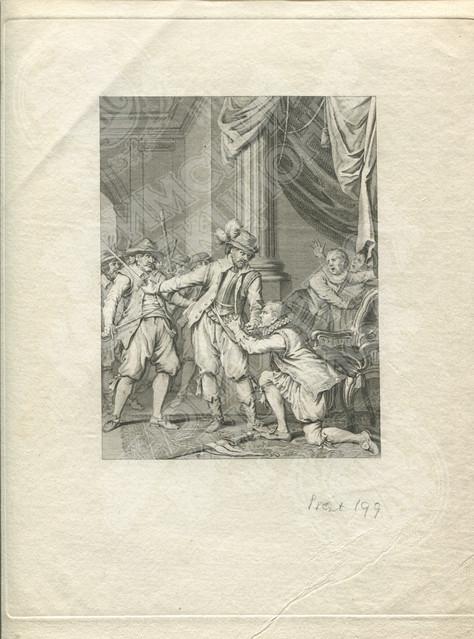 Франсуа ван Рихов защищает Арсхота бургомистра города Гент от рук вооружённых мятежников (Burgemeester Aerschot beschermd door Ryhove)