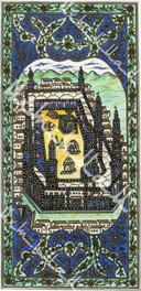 """Лист с рукописным изображением Мекки и Медины из книги """"Далаил Хират"""". XIX век. Лист 1."""