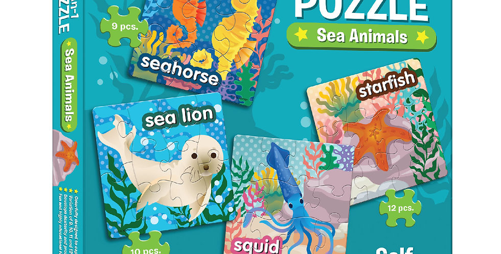 4-in-1 Puzzle Sea Animals