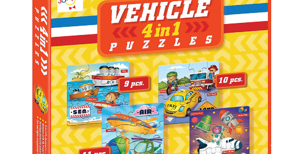 Vehicle 4-in-1 Puzzles