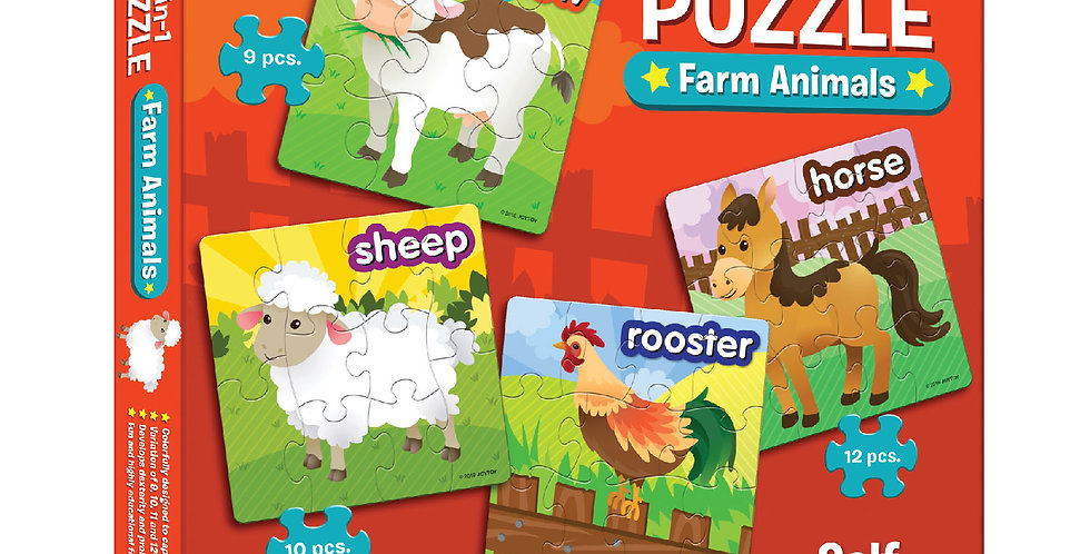 4-in-1 Puzzle Farm Animals
