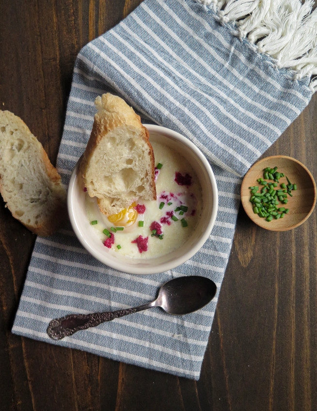 Eggs Baked in Cream with Beet Horseradish