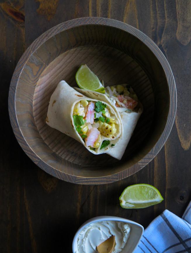 Garlic-Lime Corn and Shrimp Burritos