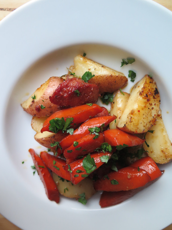 Roasted Potatoes with Sausage and Sesame Honey Carrots