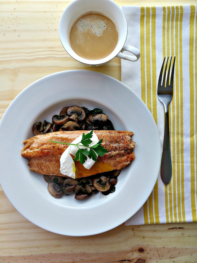 Pan Seared Trout on a Bed of Herbed Mushrooms with Poached Egg