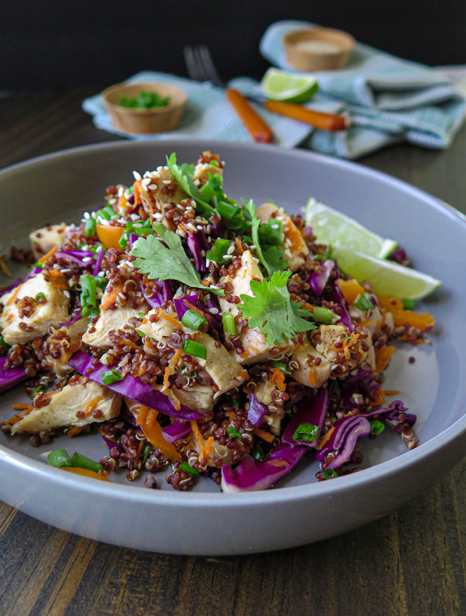 Asian Red Quinoa Chicken Salad