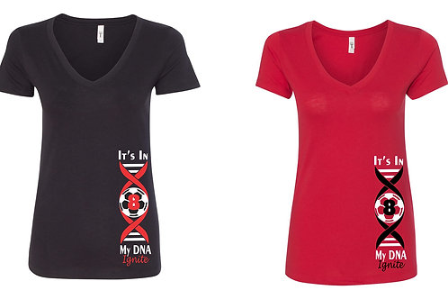 Ladies V Neck- DNA Design