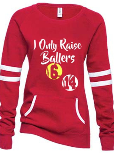 Mom Design - Raise Ballers -Ladies Varsity Fleece Crewneck Pullover