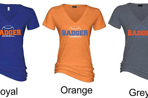 Badger Baseball-Ladies V Neck
