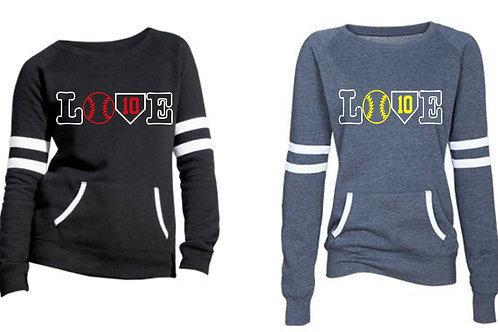LOVE Design-Ladies Varsity Fleece Crewneck Pullover