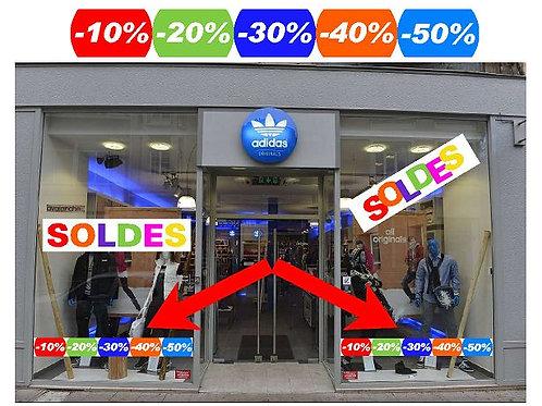 """Stickers autocollants soldes """" -10% à -50% pour decoration vitrine ou autre"""