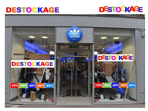 """Stickers autocollants """"DESTOCKAGE"""" pour marquage Vitrine ou autre"""