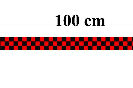 damier 100x 3 cm / 3 lignes rouge et noir
