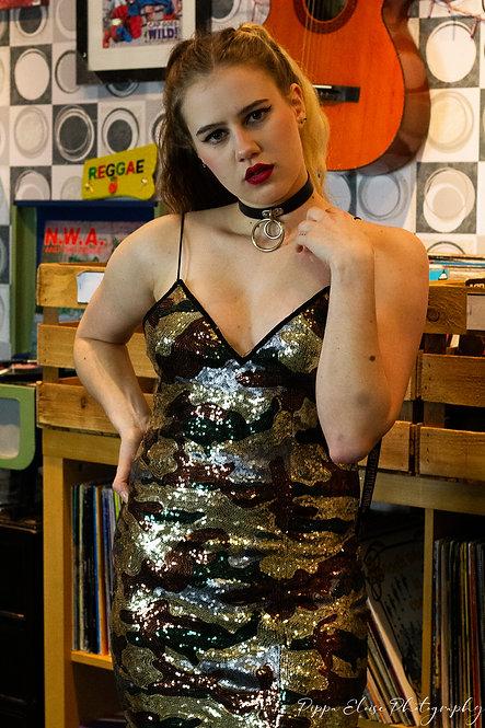 Camo print sequin dress