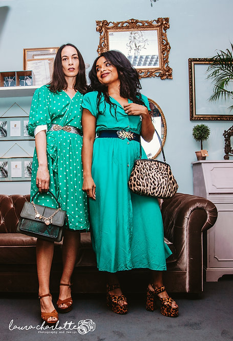 Vintage green polka dot dress