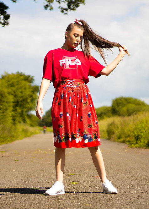 Red patterned skirt