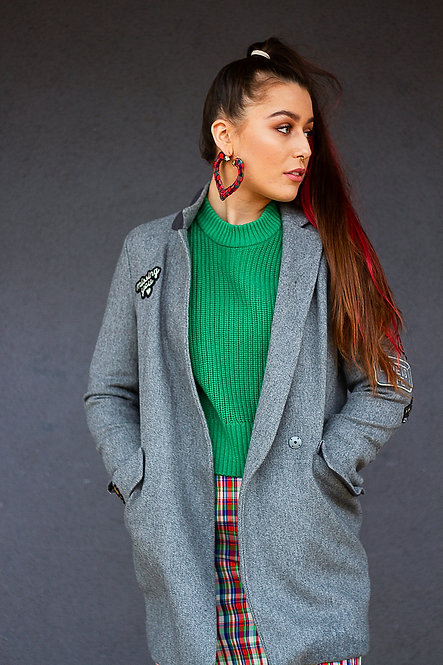 Coat with patches
