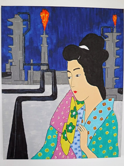 Geisha Painting- Open Flame