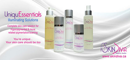 UniquEssentials skin care solutions for hyperpigmented, acne scarring and age-spots