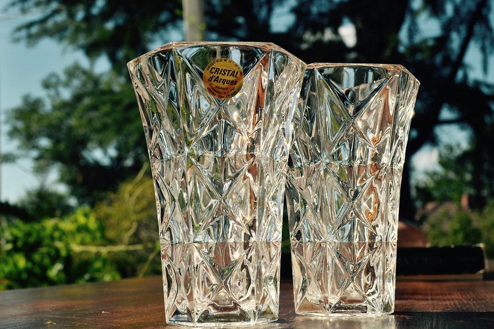 Cristal Darques France Genuine Lead Crystal Vase.Pair Cristal D Arques Crystal Vases