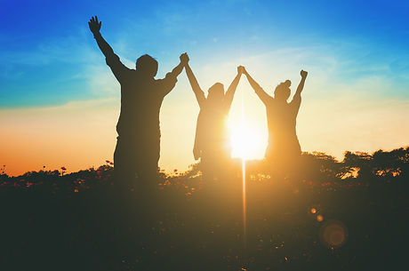 Silhouette of happy success positive tea